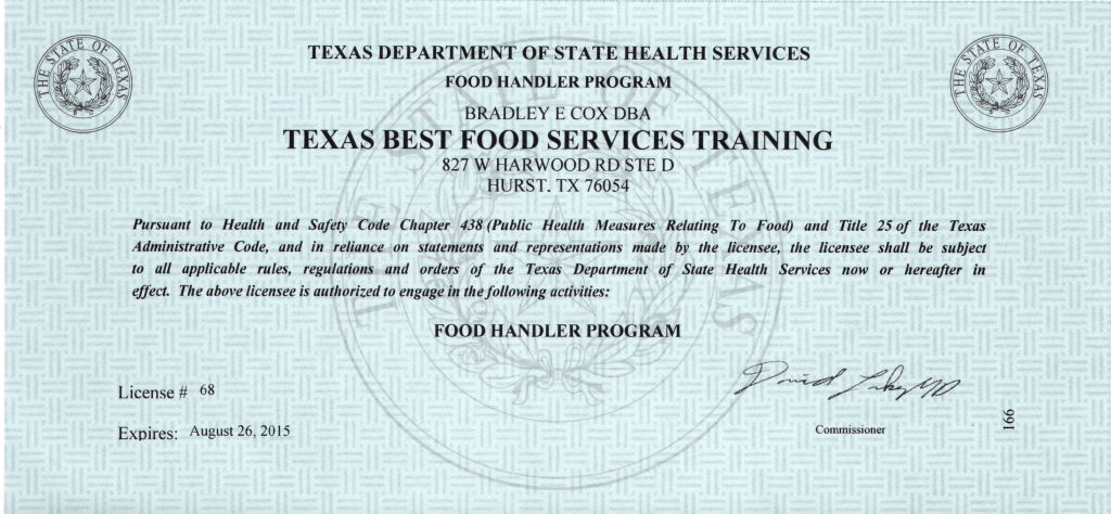 Texas Food Handler S Certification