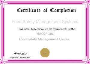 HACCP Certificate B