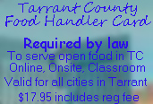 Tarrant County Food Handler Card